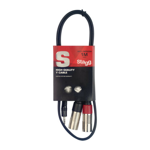 NEW Stagg SYC1//MPS2XM 1m//3ft Stereo Minijack to Twin Male XLR Cable