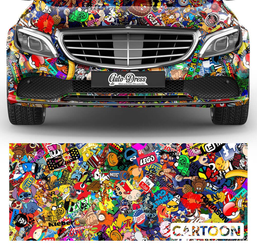 Cartoon Car-Wrapping - Autocollant Bombe Film de Voiture pour 3D Car-Wrapping Cartoon Conduit à Air, 110d84