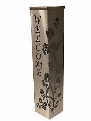 """Edelstahlsäule /""""Blumenmuster/"""" 20x20x100cm Säule aus Edelstahl geschliffen"""