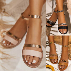 Womens-Peep-Toe-Ankle-Strap-Buckle-Flat-Sandals-Ladies-Casual-Summer-Beach-Shoes