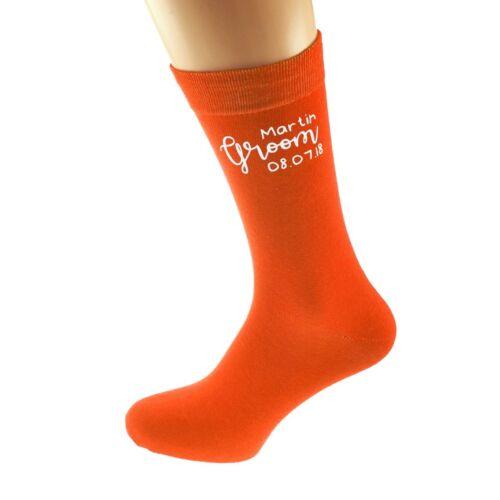 Personnalisé Orange Groom Chaussettes avec nom et date Taille UK 5-12 X6N884
