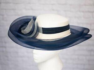 Vintage-c-amp-a-chapeau-bleu-ivoire-plisse-1980-S-Vintage-Goodwood-Mariage-Diana-formelle