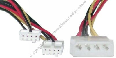 """Lot10 8/"""" 4pin Molex Male~Dual FD//Floppy Drive Power Supply Y Splitter Cable//Cord"""