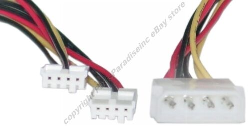 """12/"""" 4pin Molex Male~Dual FD//Floppy Drive Power Supply Y Splitter Cable//Cord//Wire"""