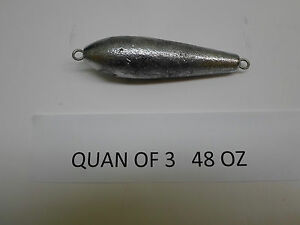QUAN OF 8 48 OZ INLINE TORPEDO TROLLING SINKER 8 OF THEM