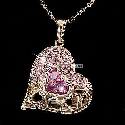 18k rose gold gp made with SWAROVSKI crystal pink heart filigree love necklace