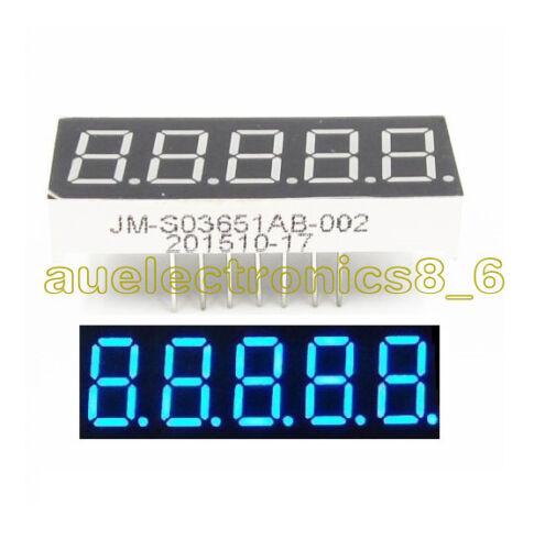 0.36 inch 5 Digital Led Display 7 Seg Segment Common Cathode Blue AU