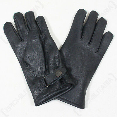 83b686bda3168 Details about German Army Lined Leather Gloves - Winter Lined Military  Combat Black Mens New