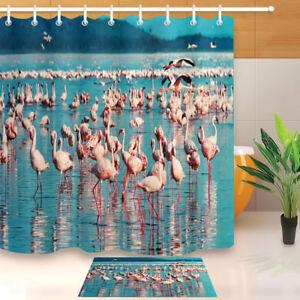 Image Is Loading Pink Birds Flamingo Shower Curtain Waterproof Fabric 12