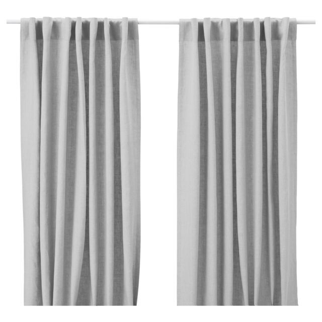 Ikea Aina Pair of Curtains 2 Window Panels Linen Drapes 98 Long New NIP