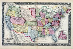 Details about 1860 ornate map UNITED STATES AMERICA S. Augustus Mitc, on map of civil war 1860, map of usa in 1860, map of religion in 1860, map of the united states 1860, map of prussia 1860, map of boston 1860, map of kansas 1860, map of chicago 1860, map of alabama 1860, map of western states in 1860, map of u.s. 1860,