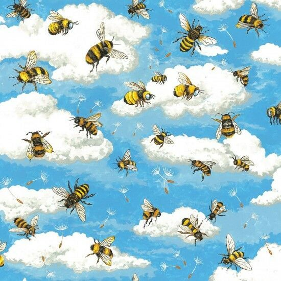 Fat Quarter Bee Haven Honey Bees Flying Cotton Quilting Fabric 55x50cm