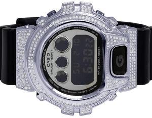 Mens-Ladies-Casio-G-Shock-6900-Black-Glossy-S-Steel-Genuine-Diamond-Watch-3-0-Ct