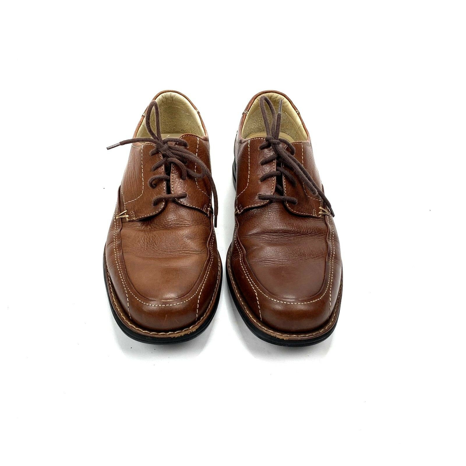 Johnston & Murphy Mens Sheepskin Brown Leather Oxfords Sz 8M