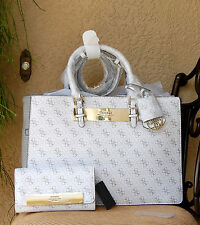 NWT Beautiful GUESS Isla Status Carryall Satchel Handbag + Wallet Set Color Snow