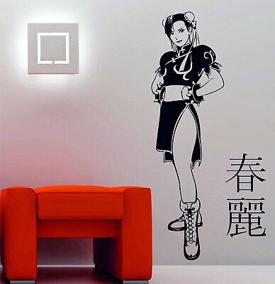Manga Girl Fighter Chun-li Street Fighter Anime Decorazioni Da Parete In Vinile Adesivo Decalcomania-
