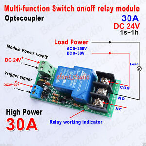 DC-24V-30A-Multifunction-Delay-Timer-Switch-Turn-on-off-Relay-Module-High-Power