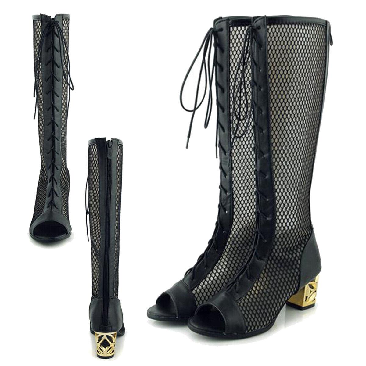 Womens Peep Toe Lace Up Glatiator Mid Calf Boots Mesh Chunky Mid Heels Sandals
