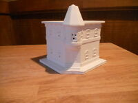 C-0703 Christmas Village Bank Building Ceramic Bisque Ready To Paint