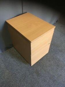 Beech Lockable 3 Drawer Mobile Under Desk Wooden Pedestal New