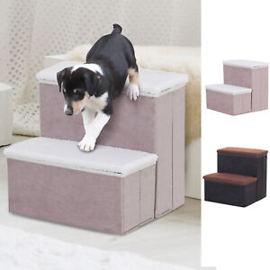 2-Step Foldable Pet Steps Pet Stairs with Fleece Cover and Storage