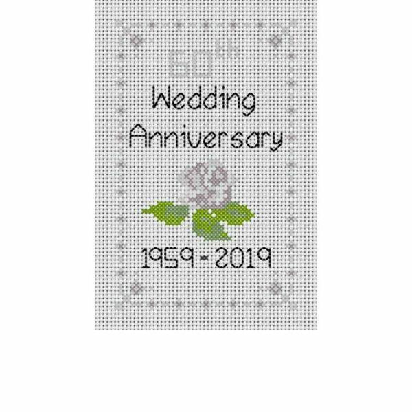 60th diamond wedding anniversary cross stitch card kit for