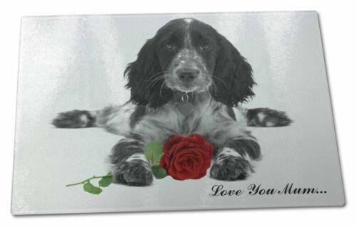Cocker Spaniel+Rose /'Mum/' X Large Glass Cutting Chopping Board AD-SC13R2lymGCBL