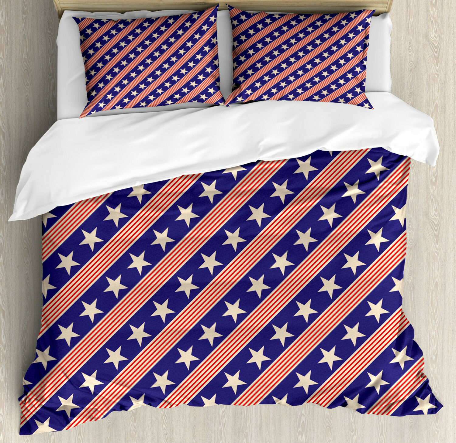 Primitive Country Duvet Cover Set with Pillow Shams Patriot Star Print
