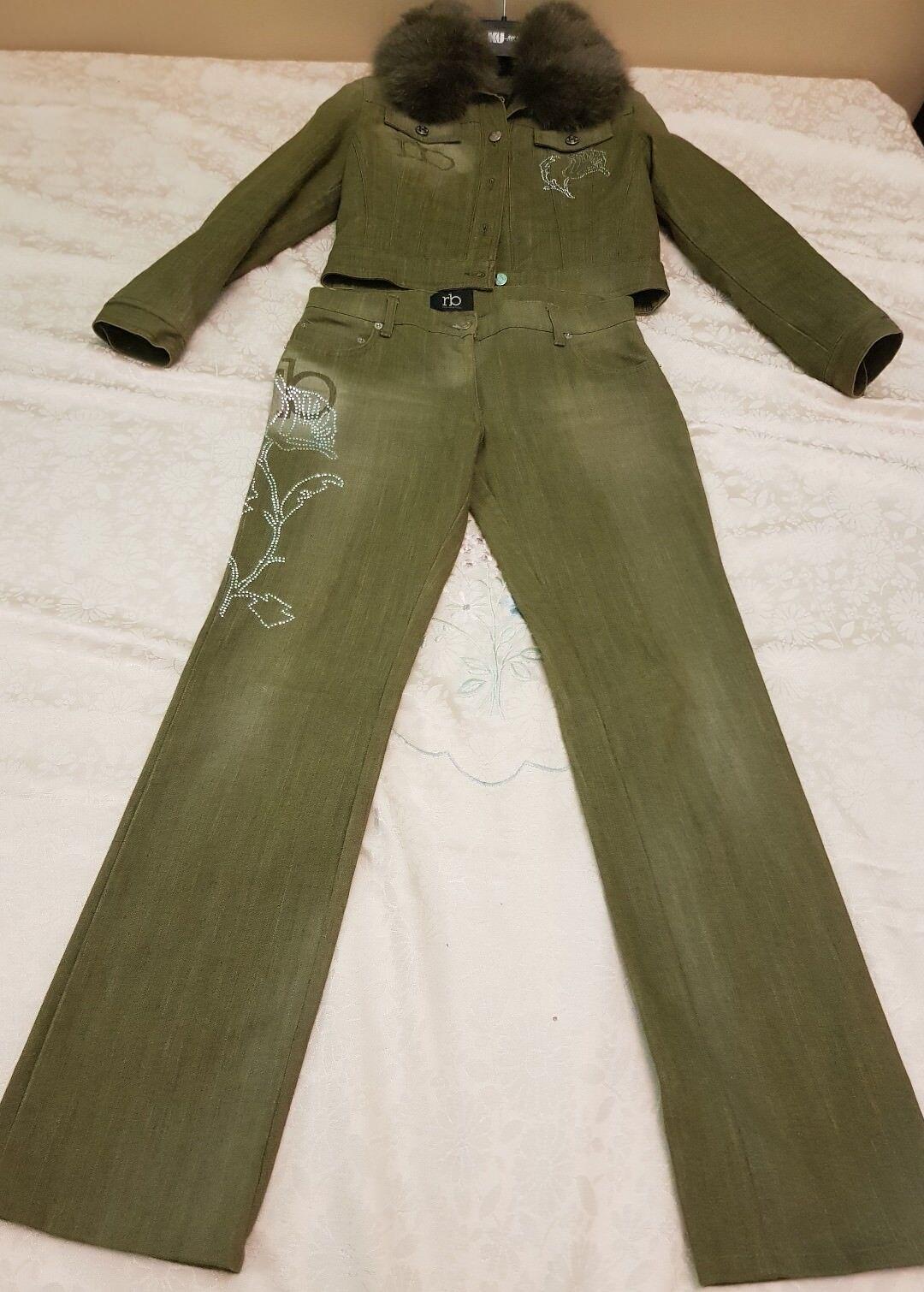 Roccobarocco Completo Pantaloni giacca Giubbino Jeans denim  pelliccia volpe