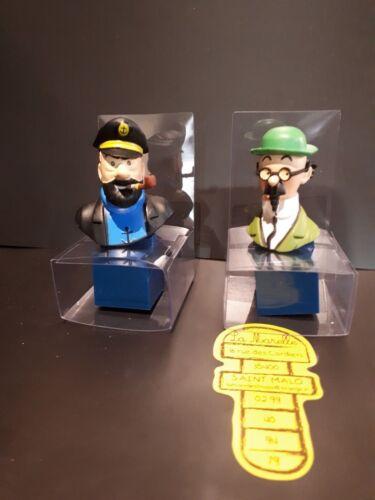 Lot 2 bustes en pvc Capitaine Haddock et Professeur Tournesol 6,5 cm Moulinsart
