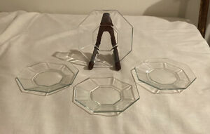 Set-of-4-Vintage-Arcoroc-Clear-Glass-Hexagonal-Bread-Butter-PLATES-France-signed