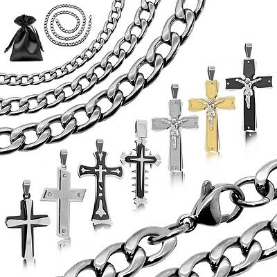 Set Anhänger Halskette Panzerkette Königskette Kreuz Kruzifix Silbern Edelstahl