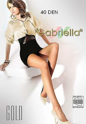 Classic 40 Denier Gabriella Gold Tights/Pantyhose S M L