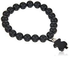 TOUS Jewelry Black Agate Stretch Bead Bracelet With Bear Charm