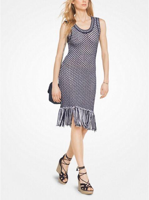 1e3ce6c2cb3 Michael Kors Fringe Trim Cotton-blend Knit Dress Sz S True Navy NWTS ...