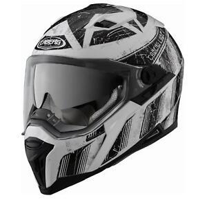 Caberg-Integralhelm-Stunt-Steez-Weiss-Schwarz-L-Motorrad-Helm-Motorradhelm-Klapp