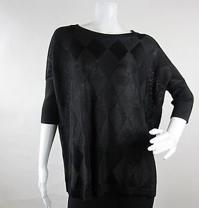 Rondina-Designer-Womens-Pullover-Top-Blouse-Size-M-Black-Knit-Short-Sleeve