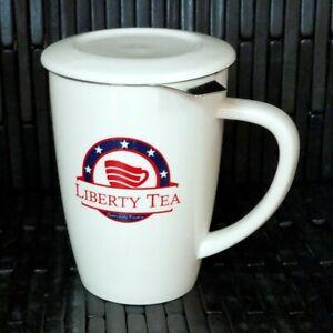 BRAND-NEW-Liberty-Tea-Tall-15-Oz-Tea-Mug-Cup-with-Infuser-and-Lid-White-Curve