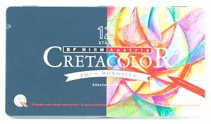 Cretacolor-Aqua-Monolith-Water-Soluble-Woodless-Artist-039-s-Pencils-12-Color-Set