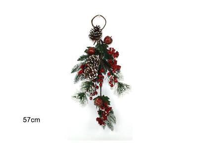 Cosciente Ramo Albero Natale Innevato Con Bacche Rosse Decorazioni Natale Appendiporta