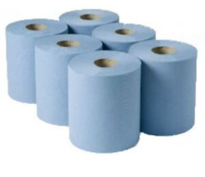 BLUE CENTRE FEED Towel Tissue Paper Wipe Roll Take away Restaurants Kitchens x 6
