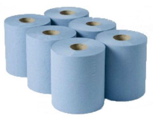 6 X Azul 70M X 175mm 2 capas Papel De Limpieza Rollo De Cocina centrefeed Industrial