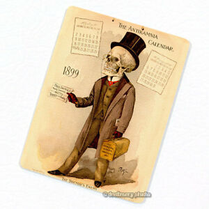 Antikamnia-1899-Calendar-4-Deco-Magnet-Antique-Illustration-Skeleton-Fridge
