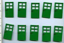 LEGO x 10 Green Door 1 x 4 x 6 with 4 Panes and Stud Handle NEW