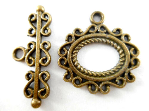 Oval Filigree Toggle Clasp Q8 Antique Copper Brass Silver Gun Metal Plated
