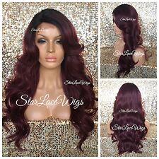 Long Full Wig Loose Wavy Bangs Layers Burgundy Dark Root Side Part Heat Safe Ok