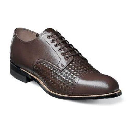 Stacy Adams Para hombres Zapatos Madison Puntera Diamante impresión de cuero marrón 00082-200