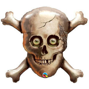 PIRATE-PARTY-SUPPLIES-BALLOON-32-034-PIRATE-SKULL-amp-CROSS-BONES-SHAPE-FOIL-BALLOON