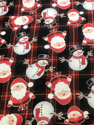 Christmas Themed Santa Snowman Print Thin Soft Jersey Spun Polyester Fabric