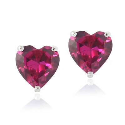925 Silver 3.2ct Created Pink Sapphire Heart Stud Earrings, 7mm